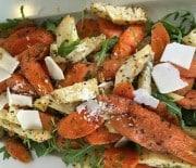 Bagte rodfrugter med parmesan