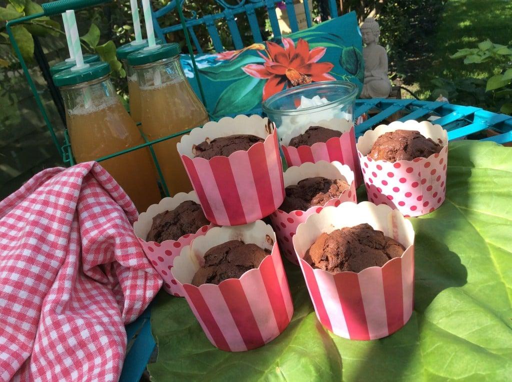 Rabarber muffins med chokolade