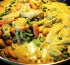 Fisk med karry grønsager